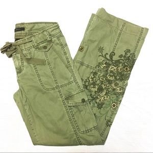 Express Floral Embroidered Covertible Cargo Pants